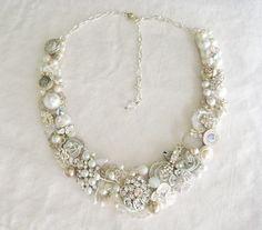pearl+and+rhinestone+necklace   Pearl & Rhinestone Bridal Bib Necklace- Bridal Statement Necklace ...