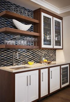 kitchen wet bar with floating shelves, glass tile in Sonoma Tilemakers Euphoria Mystic-After Midnight Get Inspired! Visit our Inspiration gallery to see photos of how you can use our tile collections in your kitchen, bathroom and even your pool. Kitchen Bar, Kitchen Space, Basement Remodeling, Kitchen Remodel, Glass Shelves Kitchen, Bars For Home, Kitchen Wet Bar, Glass Shelves Decor, Kitchen Design