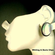 Whiting & Davis Mother of Pearl Clip Earrings Signed Colorful