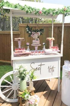 Sweet Sixteen Decorations, Sweet 16 Party Themes, 16th Birthday Decorations, Sweet Sixteen Parties, Sweet 16 Birthday, 16 Birthday Ideas, Outdoor Sweet 16, Vintage Sweet 16, Backyard Birthday Parties