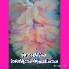 These bright colorful tutus are created for a 3 runners in a 5K!  Angie at #Tutus2You created these. I create tutus, tutu dresses, hair bows, tulle wreaths and so much more! Follow me on facebook for often giveaways, pinterest and twitter.  Email tutu2you1@gmail.com