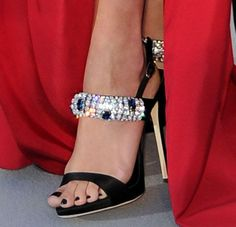 Rita Ora in Marchesa Gown and Giuseppe Zanotti Crystal Heels Black Sandals, Leather Sandals, Black Shoes, Heeled Sandals, Piercings, Giuseppe Zanotti Heels, Hot High Heels, Glitter Shoes, Luxury Shoes
