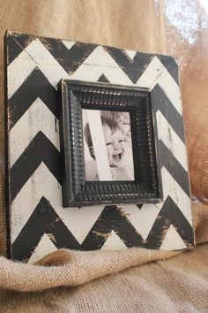 Mod Chevron Distressed Wood Picture Frame Black by deltagirlframes, $55.00