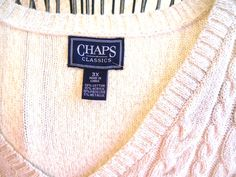 CHAPS Sweater 3X White Silver Metallic Cotton Cable Knit Long Slvs New With Tags #Chaps #VNeck