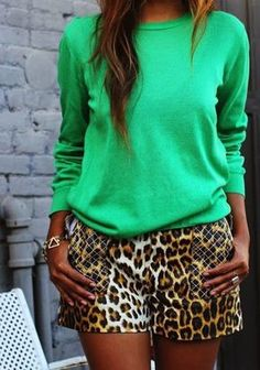 Leopard shorts paired with a bright green top - My Fash Avenue