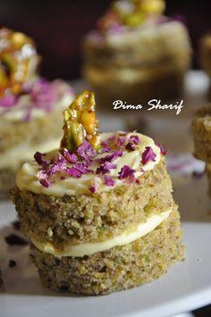 Pistachio Cake with Rosewater Cream by Dima Sharif Arabic Sweets, Arabic Food, Arabic Dessert, No Bake Desserts, Just Desserts, Baking Recipes, Cake Recipes, Pistachio Cake, Eastern Cuisine