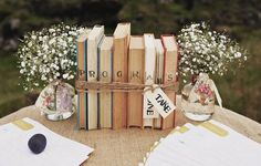 Simple and cute! bijoux-bride-its-all-in-the-details-wedding-styling-shabby-chic-books-babys-breath Book Centerpieces, Centrepieces, Vintage Centerpieces, Centerpiece Ideas, Book Club Parties, Book Themes, Book Club Books, Children's Books, Wedding Programs
