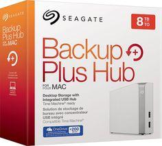 Seagate - Backup Plus Hub for Mac 8TB External USB 3.0 Portable Hard Drive - White