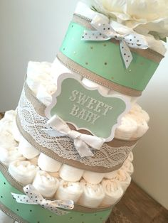 Mint Green Diaper Cake, Diaper Cake Centerpiece for Neutral Baby Shower by BuzzyDiaperCakes on Etsy https://www.etsy.com/listing/261875931/mint-green-diaper-cake-diaper-cake
