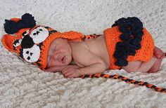 Girl Tiger Hat and Diaper Cover Set with Navy Crochet Bow Clip - Choose Your Size - Great Photo Prop. $47.00, via Etsy.