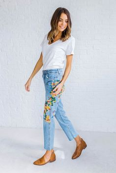 FREE PEOPLE Embroidered FORTALEZA Girlfriend Jeans