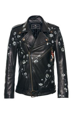 This **Etro** leather jacket features a notch collar, an all over wildflower print, and a dragon design on the back.
