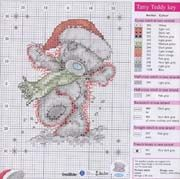 Cross stitch pattern Teddy Christmas 2