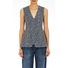 Marni Women's Moss-Print Peplum Top ($1,030) ❤ liked on Polyvore featuring tops, blue, blue sleeveless top, blue peplum top, form fitting tops, print top and marni top