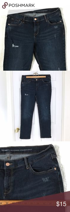 Old Navy straight boyfriend jeans So cute and comfortable! Straight cut boyfriend jeans in a distressed, dark wash from Old Navy. Mid-rise. Relaxed fit with stretch. They look great cuffed and un-cuffed. Size 14. In excellent condition!! Old Navy Jeans Boyfriend