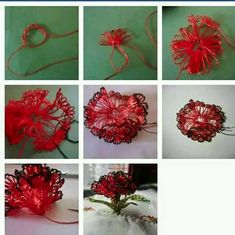 This Pin was discovered by nil Lace Flowers, Crochet Flowers, Fabric Flowers, Embroidery Stitches, Hand Embroidery, Crochet Hammock, Drawn Thread, Point Lace, Needle Lace