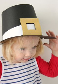 Super simple DIY Pilgrim hats - fun project for the grandparents to do with the kids while you're cooking the feast!