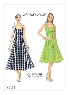 V9182 | Misses' Button-Down Flared-Skirt Dresses Sewing Pattern | Vogue Patterns