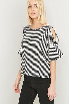 1377937f7eab Urban Outfitters Black and White Striped Cold Shoulder Top