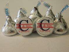 WEDDING INITIAL KISSES - Hershey Kisses - 108 self-advesive stickers - Labels Only - Personalized favors wedding favors. $7.99, via Etsy.