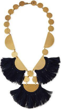Tory Burch Fringe-Disc Statement Necklace, Blue