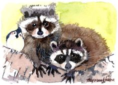 ACEO Limited Edition 8/10 Raccoons and a Bird in by annalee377