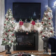 I love these beautiful red and white Christmas home decorations. The white feather garland over the mantle is so simple to do but looks so elegant. Gold Christmas Decorations, Small Christmas Trees, Gold Christmas Tree, Christmas Fireplace, Christmas Mantels, Beautiful Christmas, Christmas Home, Holiday Decor, Halloween Christmas