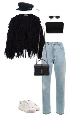 """Untitled #229"" by giorpam ❤ liked on Polyvore featuring RE/DONE, adidas, Moschino, Yves Saint Laurent, Gianfranco Ferré and Luv Aj"
