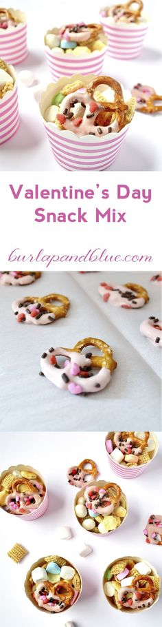 easy valentine's day snack mix with chocolate covered pretzels