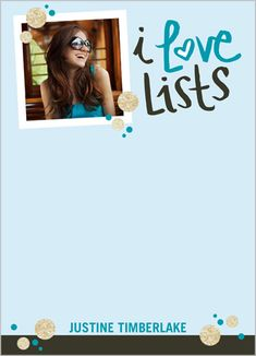 Custom Notepad with Image: I Love Lists 5x7, Square, Blue