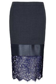 Topshop lace midi pencil skirt