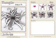 Squid ~ a Zentangle tangle by Maria Thomas, Zentangle Founder.  Example by Sandra Steen Bartholomew, Certified Zentangle Teacher