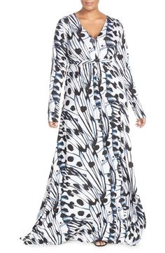 Melissa McCarthy Seven7 Print V-Neck Ruched Maxi Dress (Plus Size) available at #Nordstrom