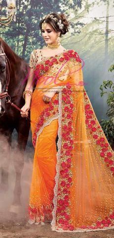 Heavy Party Wear Sarees Orange Net Silk Pearl Work SF3373D20191