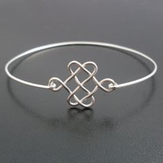 Celtic Knot Bracelet Silver Knot Bracelet Bangle by FrostedWillow