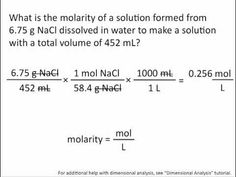 Molarity - Chemistry Tutorial Jessica fail   REally need to keep this up in my mind over the summer