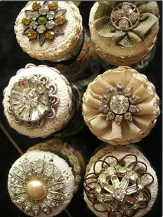 beautiful buttons reflected like lacy petite cakes