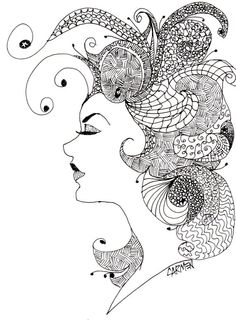 Coiffure, 5x7 Pen and Ink Zentangle Drawing on Paper, Fantasy Woman