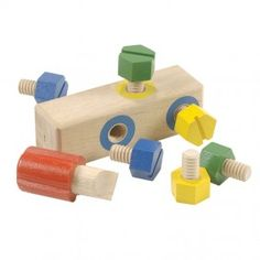 "Bolt Block  First wooden screwdriver and bolts - ages 2-5  Young children can turn the six big, chunky wooden bolts with fingers alone or they can use the jumbo wooden driver. Any bolt turns smoothly in any threaded hole. Once they have mastered turning, children will notice they can match bolts to holes by color. Driver stores securely in its own (unthreaded) hole. All wood. 6"" x 1¾"" with 6 bolts and driver."