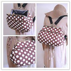 ☆再販☆【nanqueen's handmade】【キャンバス地】 がま口リュック&ショルダー2wayバッグ