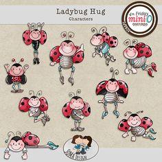 SoMa Design Ladybug Hug Characters Ladybug, Digital Scrapbooking, Hug, Comics, Characters, Design, Lady Bug, Comic Book, Comic Books