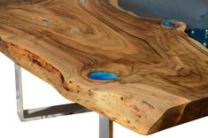 Live edge river coffee table with glowing resin fillin and image 9 Turquoise Color, Turquoise Stone, Live Edge Furniture, Resin Furniture, Resin Table, Wood Table, Live Edge Table, Wood Pieces, Glow