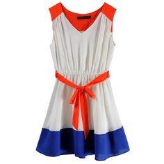 Collision Color Sleeveless V-neck Belt Chiffon Dress ($33) via Polyvore