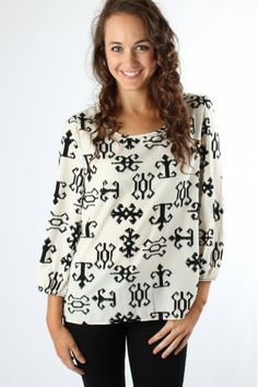 B&W Tribal Blouse $29.99 #sophieandtrey #tops #blouses #blackandwhite #aztec #print
