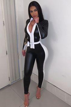 Black One Piece Jumpsuit, Black Jumpsuit, Dress Black, Long Jumpsuits, Jumpsuits For Women, Pantalon Vinyl, Hot Outfits, Fashion Outfits, Fashion Women