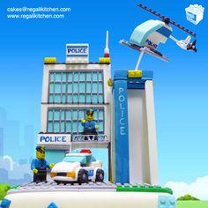 Lego City Police Station Cake