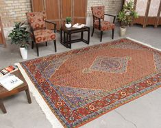 "Vintage Distress Rug Tribal Persian Area Rug 6'8"" x 10'2"", 070685 large rug"