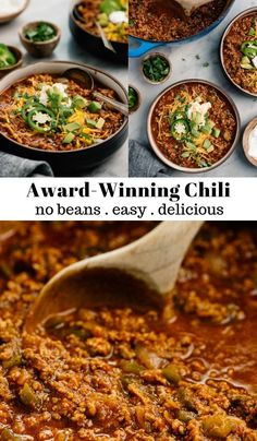 If you're a chili fan, you're in the right place. This no bean beef chili recipe is the best I've ever had. In fact, this is an award-winning chili recipe! And there's really nothing like a good bowl Beef Chili Recipe, Paleo Chili, Chilli Recipes, Bean Recipes, Soup Recipes, Cooking Recipes, Healthy Recipes, Chilli Recipe No Beans, Best Chili Recipe Ever