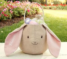 Pink Bunny Linen Easter Puffy Bag