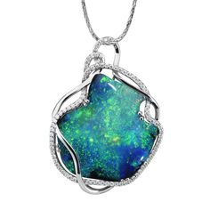 18K White Gold Australian Black Opal and Diamond Pendant